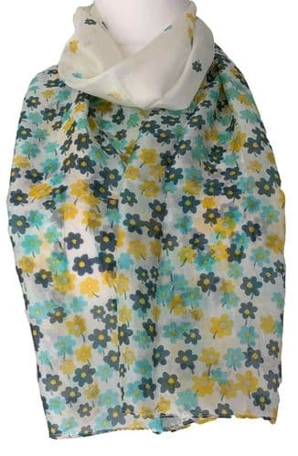 Blue Silk Scarf Ladies Yellow Floral 100% Pure Silk Flowers Flower Cream Scarf